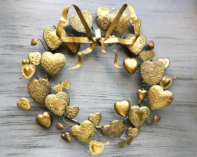 Vintage Brass Hearts Dresden Wreath Petites Choses