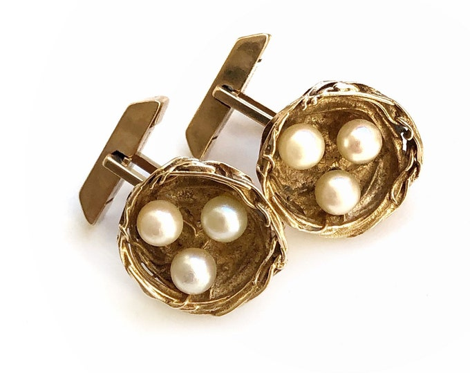 14K Yellow Gold & Pearl Cufflinks Solid Vintage Bird Nests