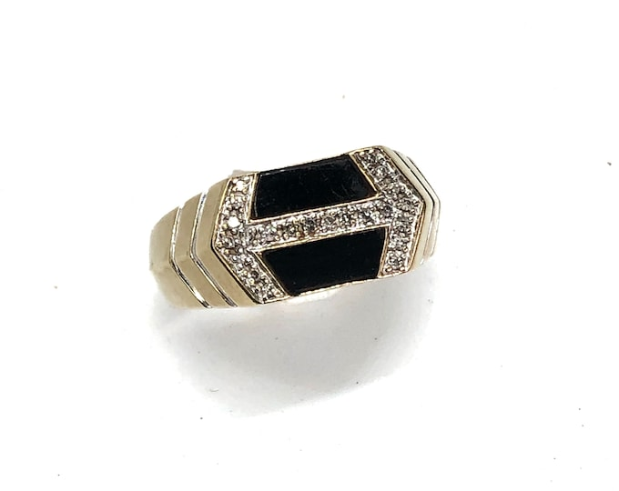 10k Gold Onyx & Diamond Men's Ring