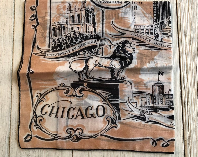 Chicago Vintage Souvenir Hankie Map Handkerchief