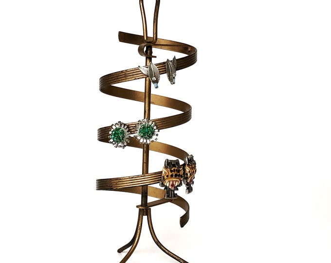 Vintage Spiral Clip Earring Display Stand Gold Metal