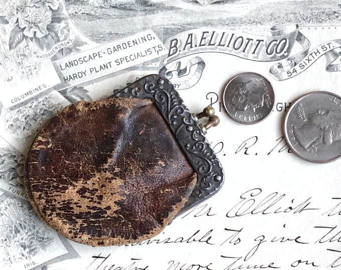 Tiny Vintage Coin Purse Shabby Leather Embossed Clasp Rusty Patina