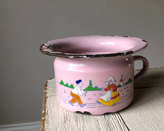 Pink Potty Vintage Enamelware Chamberpot Dutch Kids Design Windmill Rustic