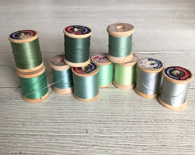 Vintage Wooden Spools Green Thread Lot