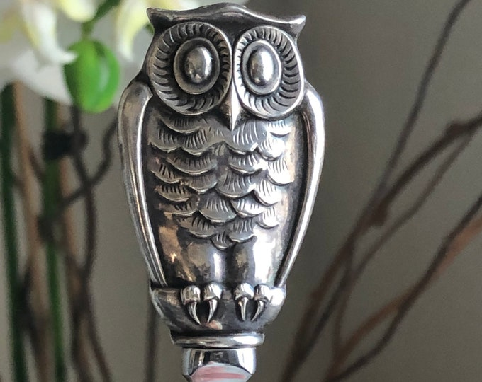 Gorham Sterling Silver Owl Letter Opener With Stainless Steel Blade