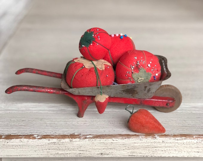 Tin Toy Wheelbarrow Gray Valentine's Red Vintage Metal Miniature