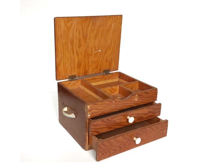 Wooden Box Vintage Supplies Rustic Toolbox Curiosities