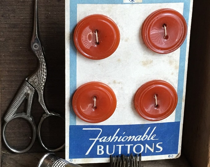 Bakelite Buttons Burnt Orange Spice Vintage Original Card Art Deco