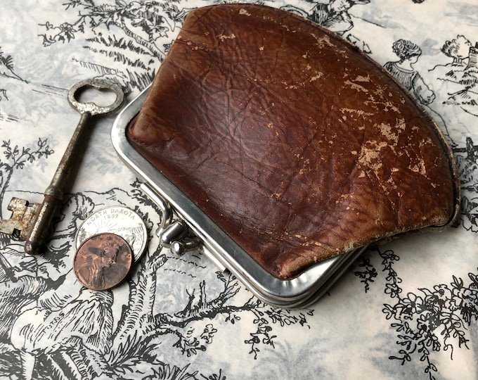Vintage Coin Purse Shabby Leather Rusty Patina Double Sided