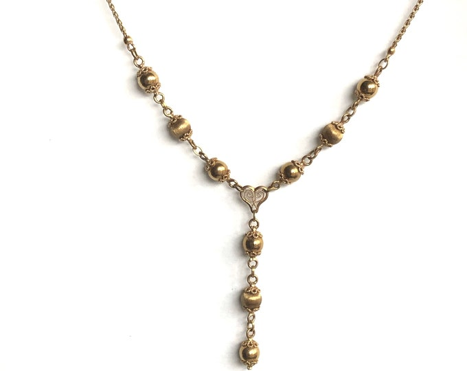 14K Yellow Gold Lavalier Y Necklace Solid 12 grams Vintage Filigree Italy Glamour