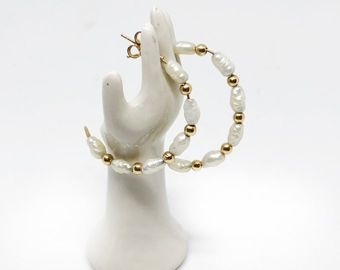 14K Half Hoop Pearl Earrings Gold Beads Hoops