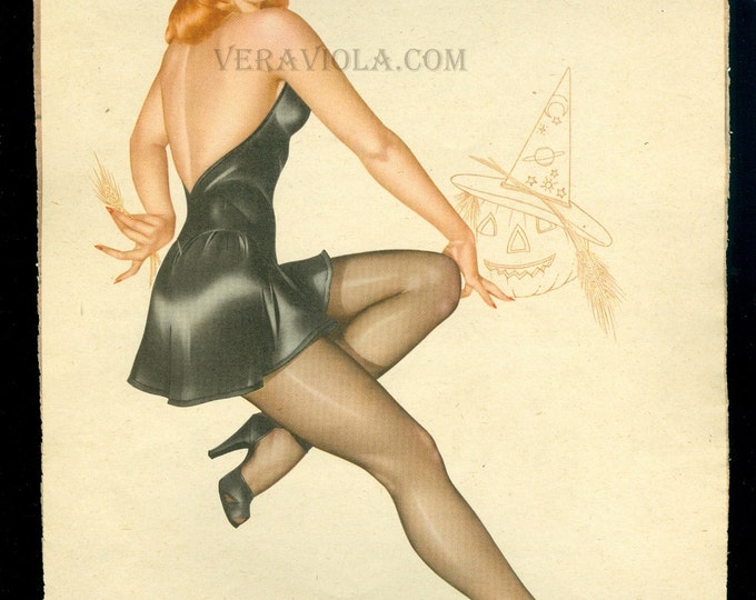 Halloween Pin Up Witch Calendar Girl Vintage Varga October 1946 Vargas Esquire