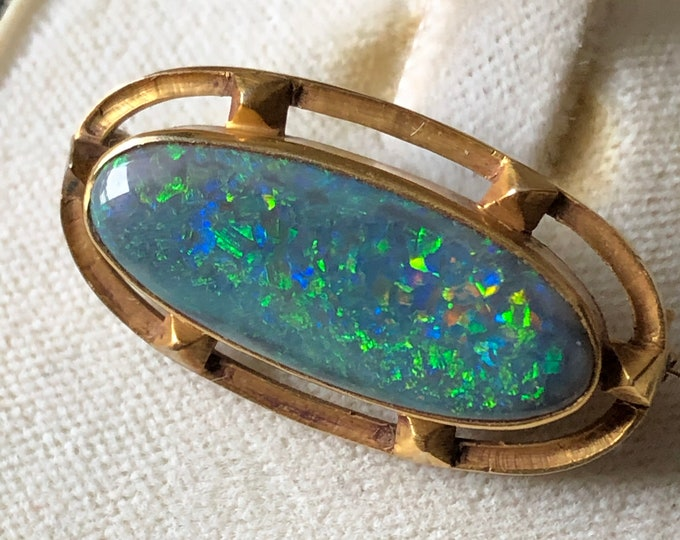 Walton & Co. Black Opal Brooch Art Nouveau 14K Antique Fine Jewelry