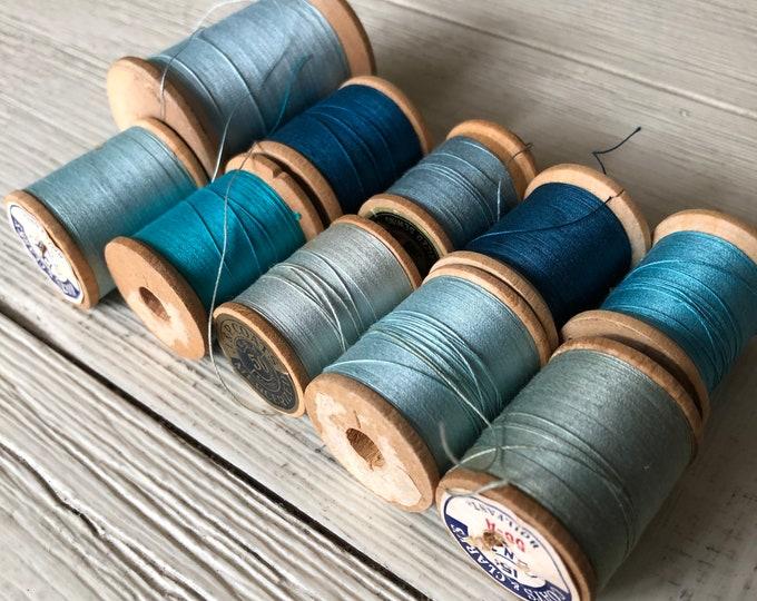 Vintage Wooden Spools Turquoise Aqua Teal Blue Thread Lot BG1