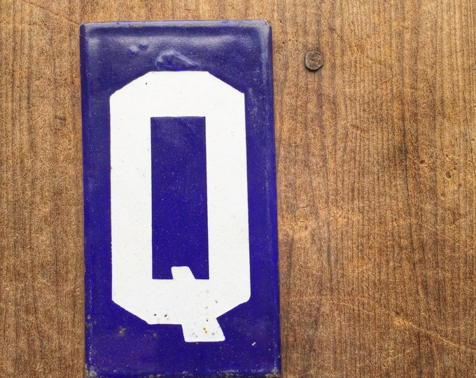 Enamel Letter Q Vintage Porcelain Sign Cobalt Blue French