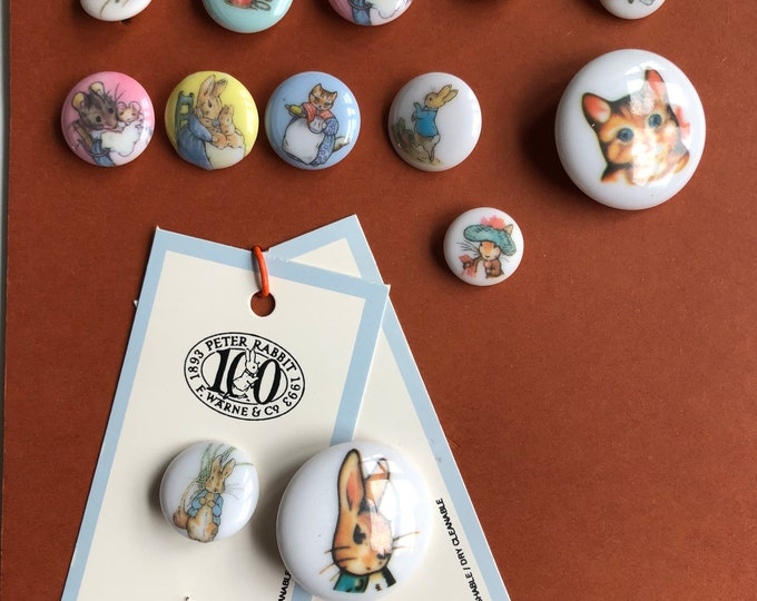 Peter Rabbit Button Collection Vintage Set of 13 JHB International Buttons