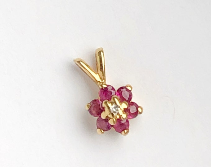 Sweet Ruby & Diamond 14k Gold Pendant Charm