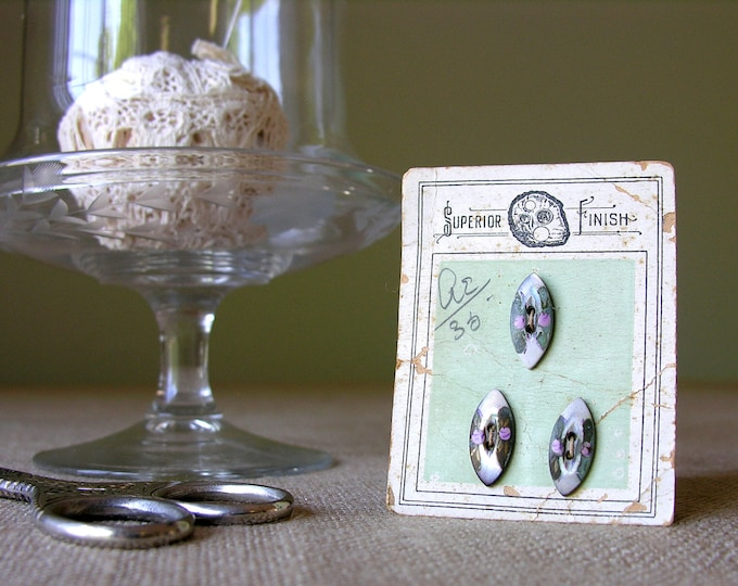 Handpainted Buttons Antique Button Card Mother of Pearl
