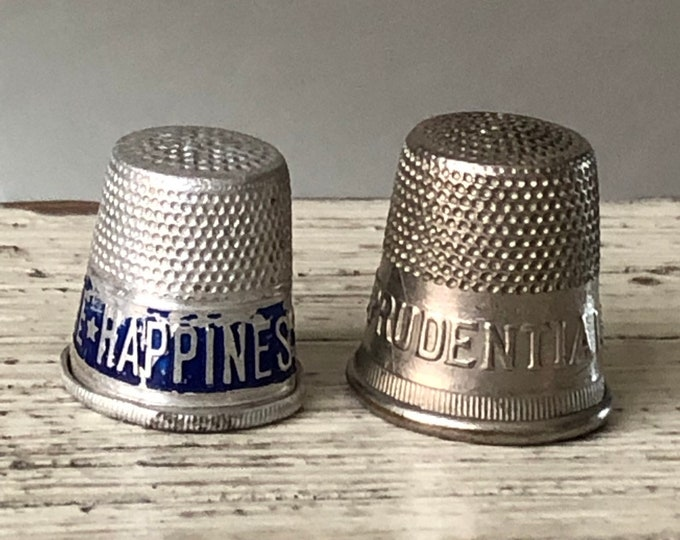 Advertising Thimbles Vintage Blue Letter Political Graphics
