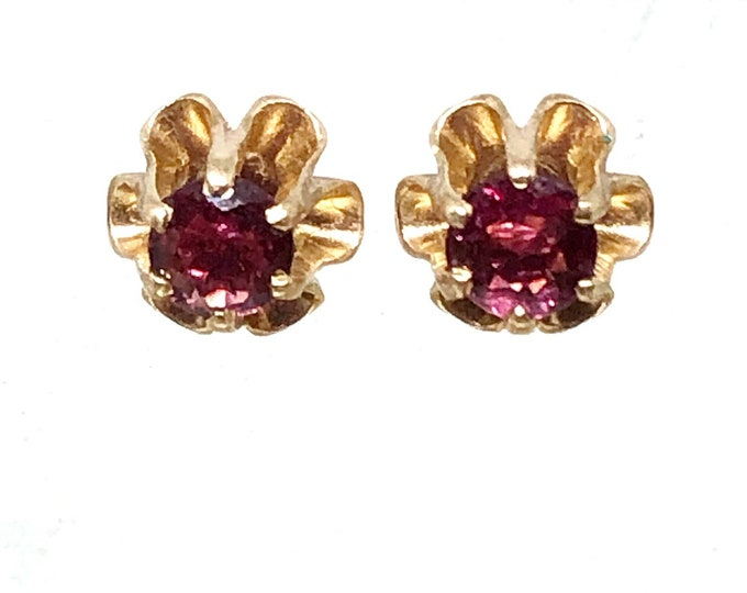Pink Sapphire Earrings Vintage 14k Gold Buttercup Settings