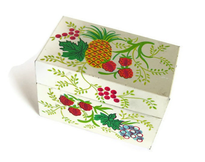 Vintage Tin Recipe Box White Metal Red Yellow Fruits Green Vines J. Chein & Co. Kitchen Storage