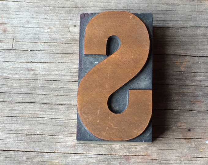 "Printer's Block Antique ""S"" Letterpress Vintage Wooden Newspaper Wood Printing Die Print Type"