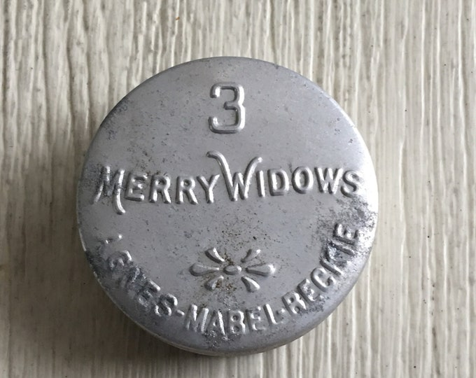 Vintage Condom Tin 3 Merry Widows Antique Aluminum Embossed Prophylactic Container