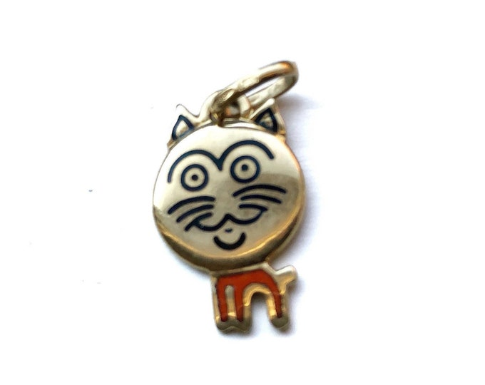 14k Gold Cat Pop Art Kitty Italian OE 585 Pendant Charm