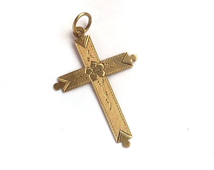18k Solid Gold Large Cross Reversible Pendant Neckmess Vintage Charm