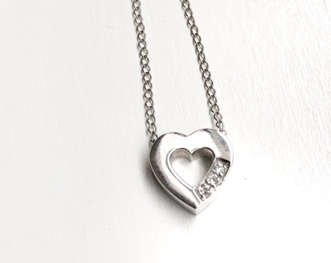 Sweet 14k White Gold Diamond Heart Pendant Chain Vintage Sparkling Love