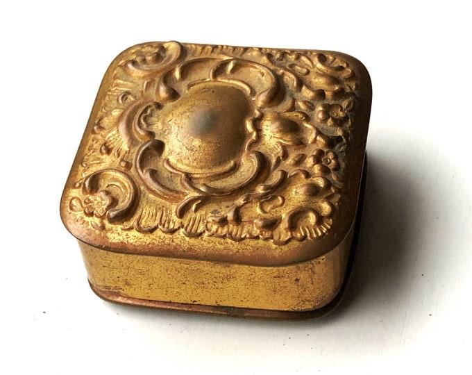 Tiny Antique Brass Snuff Pill Box Snuffbox