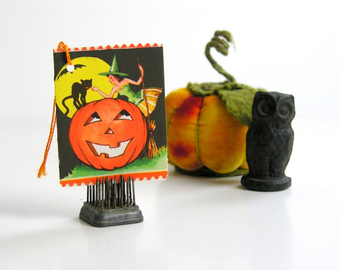 Halloween Witch Bridge Tally Black Cat JOL Vintage