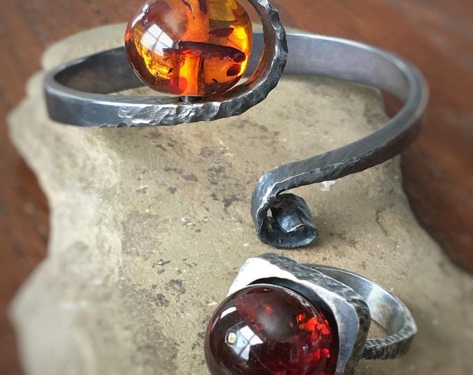 Amber & Sterling Silver Ring, Bracelet Modernist Bold Artisan Jewelry 2 pc Set