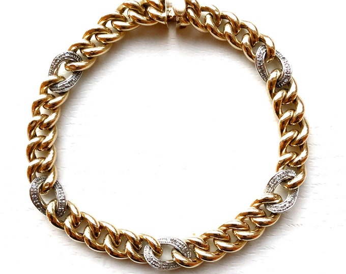 "Chunky 14k Gold Bracelet 8"" Italian Curb Link with Pavé Diamond Accents"