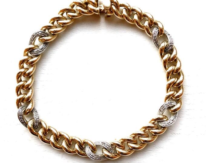 "Chunky 14k Gold Bracelet 8"" Italian Curb Link with Pavé Diamond Stations"