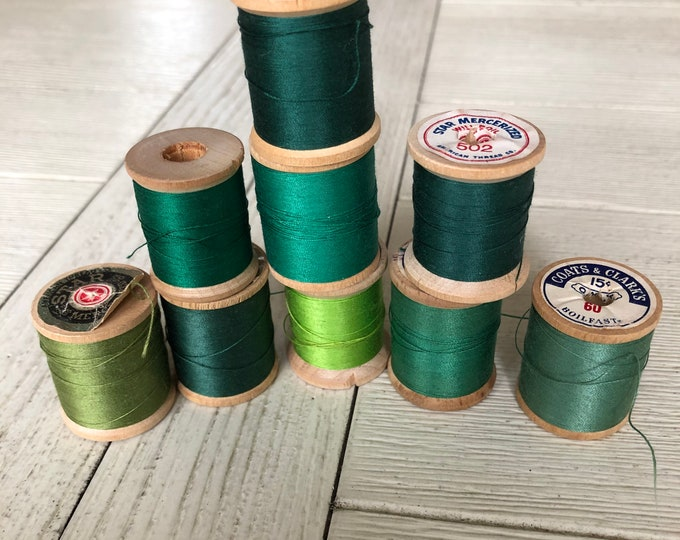 Vintage Wooden Spools Green Thread Lot GN1