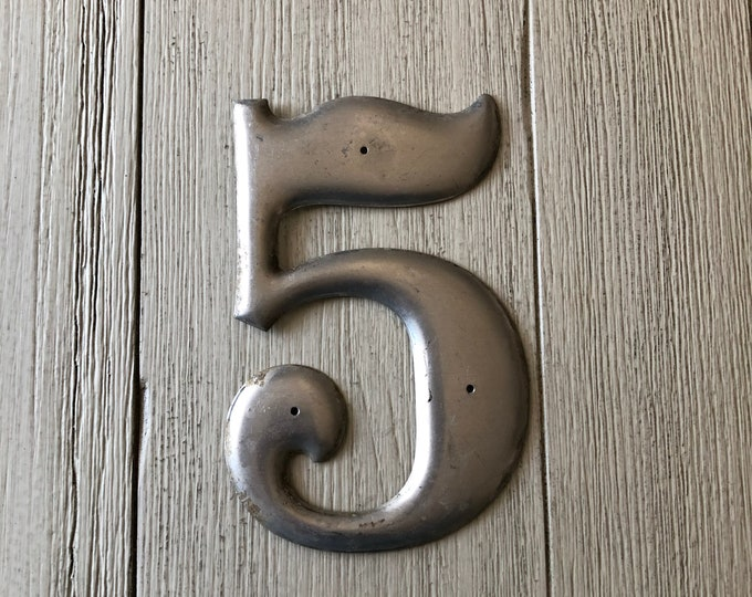 Number Five 5 Vintage Aluminum Metal Sign