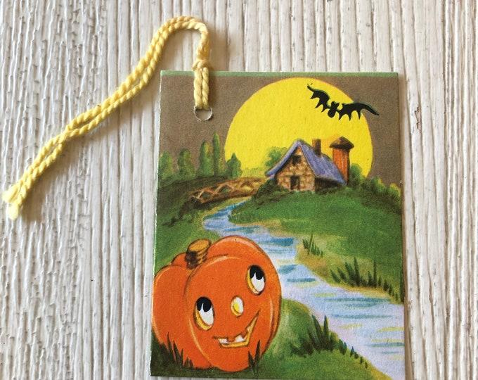 Vintage Halloween Bridge Tally Full Moon, Bat & JOL
