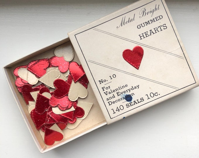 Vintage Heart Stickers Gummed Metal Bright Original Box