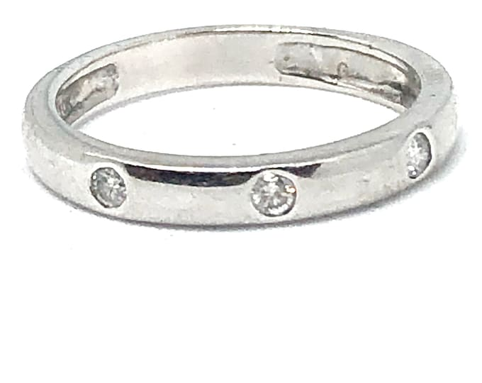 10k White Gold Diamond Stacking Ring Wedding Band Anniversary