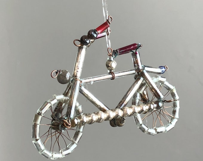 Silver Bicycle Vintage Mercury Glass Beads Christmas Ornament