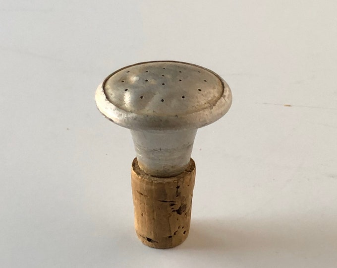 Clothes Sprinkler Top Rustic Ironing Accessory Aluminum Cork Silver Organic Laundry Day Washroom