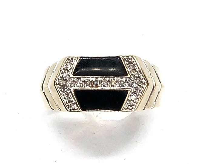 10k Gold Onyx & Diamond Men's Ring Jewelry for Him Size 10 1/2