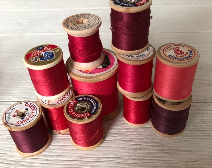 Vintage Wooden Spools Red Burgundy Merlot Thread Lot RD2