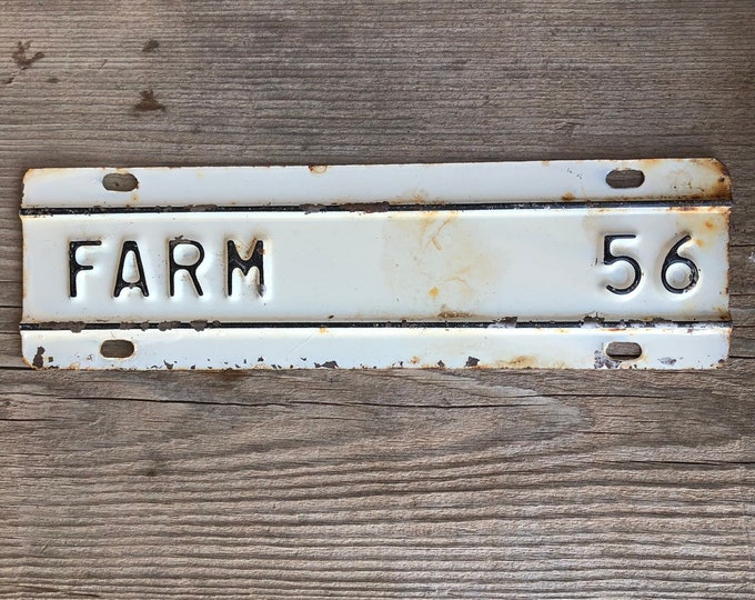 Farm Tag Vintage Metal Sign Black & White