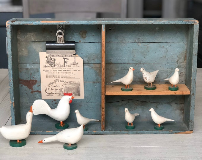 Poultry Farm Vintage Erzgebirge Wooden Toy Rooster Goose Birds Animals Germany