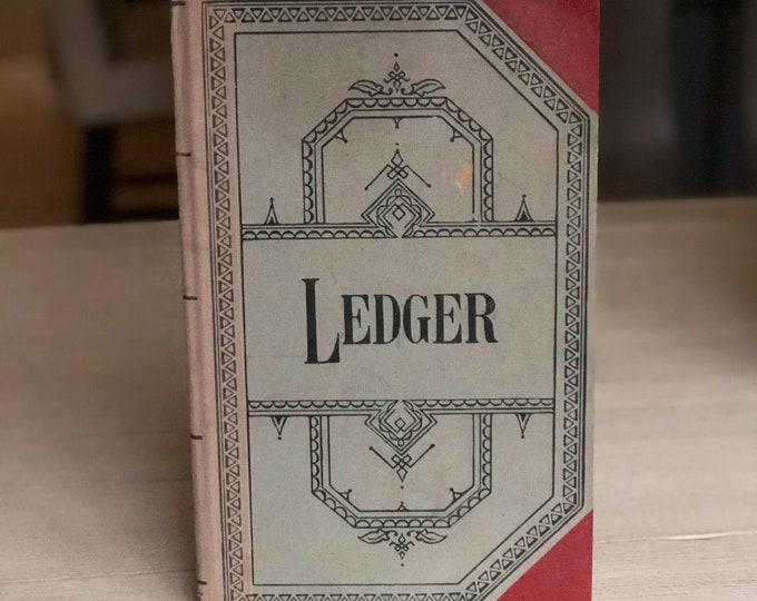 Vintage Ledger Book Blue & Maroon for Altered Art Journaling Scrapbook