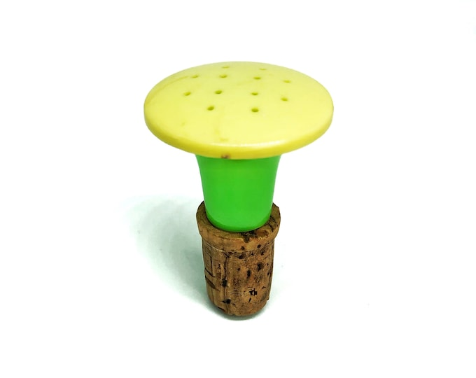 Clothes Sprinkler Top Ironing Accessory Yellow Green Plastic Organic Cork Laundry Day