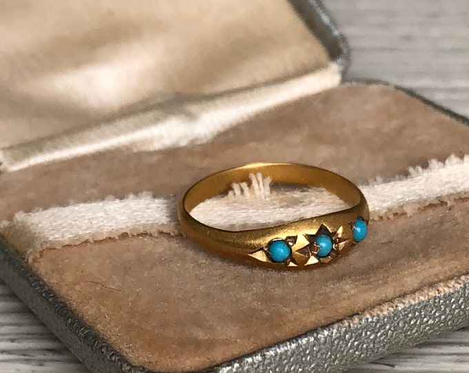 18K Gold Turquoise Baby Ring Fine Jewelry Vintage Ring Box