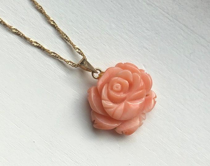 Vintage 14K Gold Carved Coral Rose Pendant Charm